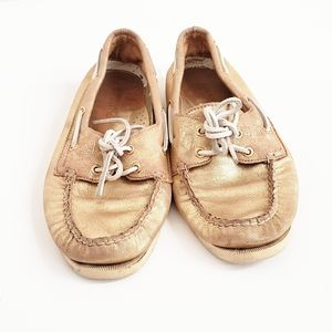 Sperry Shoes - SPERRY Topsider Gold Leather Shoes Size 8 M